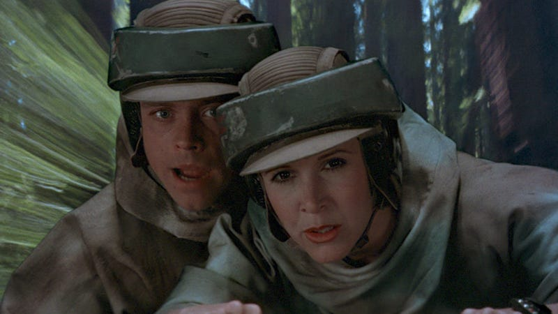 Luke and Leia flying through the forests of Endor.