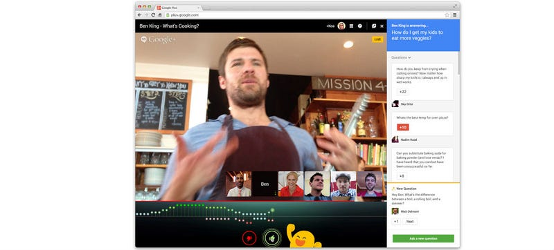 Illustration for article titled Hangouts on Air Will Now Let You Cheer Or Jeer In Real-Time