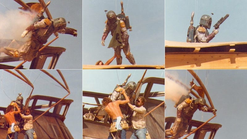 Illustration for article titled Secret behind-the-scenes Star Wars photos show the final flight of Boba Fett