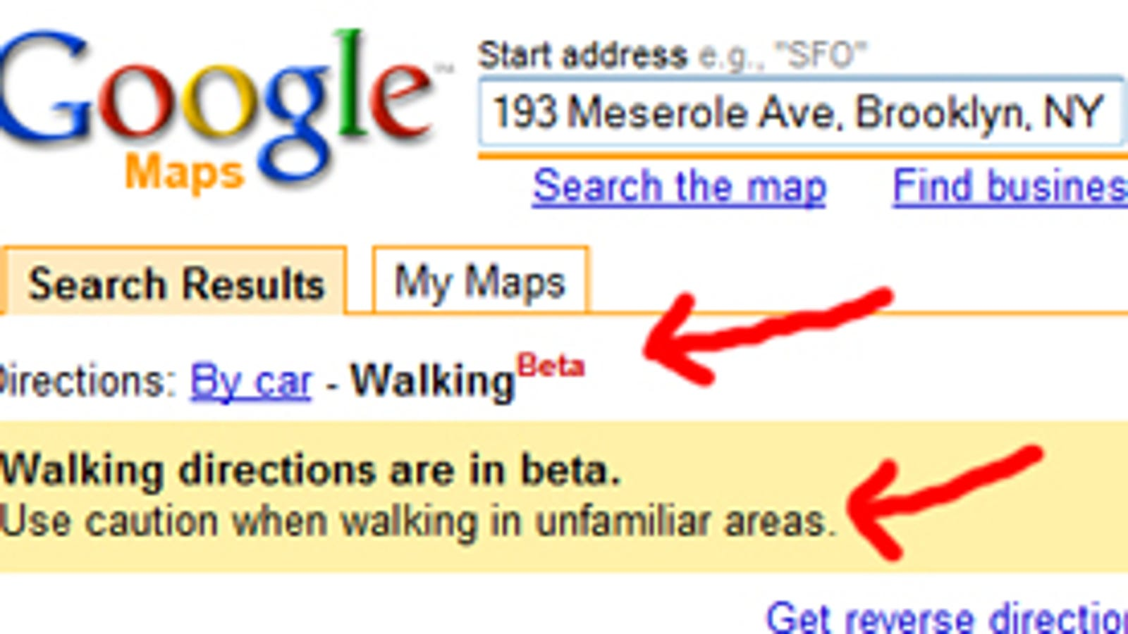 google maps adds walking directions bad neighborhood caution