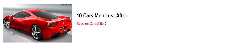 Illustration for article titled 10 Cars Men Lust After