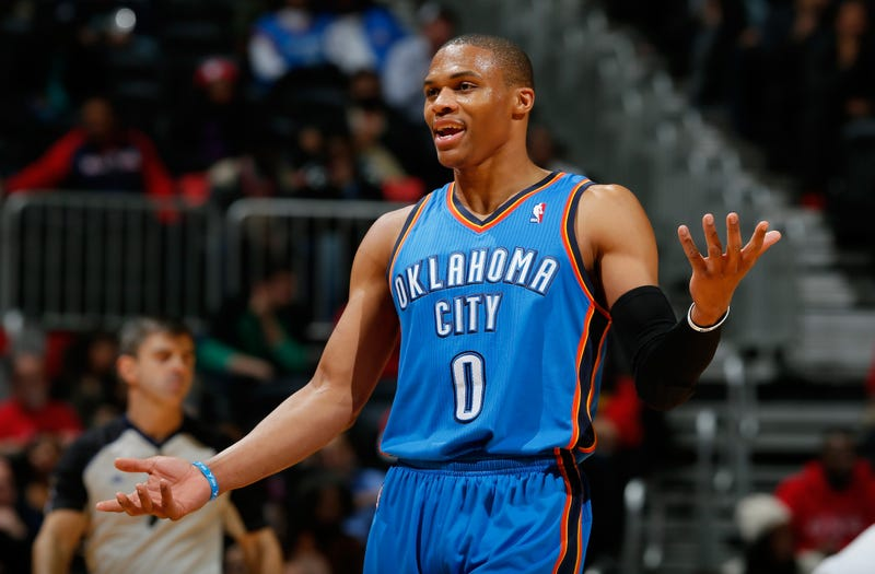 Russell Westbrook, No. 0 of the Oklahoma City ThunderKevin C. Cox/Getty Images
