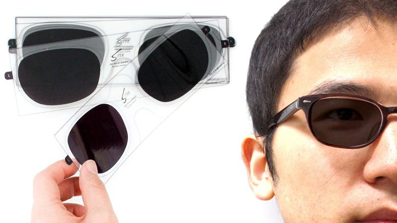 Illustration for article titled Peelable Polarized Lenses Turn Any Specs Into 3D Glasses