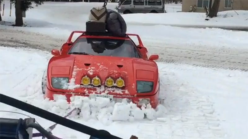 Illustration for article titled The Ferrari F40 Is Not Stopped By Your Pitiful Snow