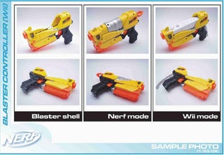 Illustration for article titled Wiimote Nerf Blaster Shoots Foam Darts, Adds Meaning to Life