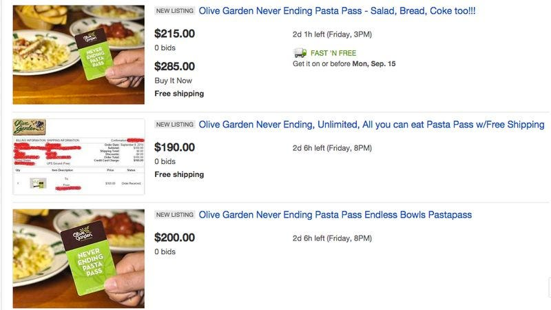Illustration for article titled Shadowy black market springs up around Olive Garden pasta passes