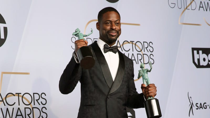 Sterling K. Brown, winner of Outstanding Performance by a Cast in a Motion Picture for 'Black Panther' and Outstanding Performance by an Ensemble in a Drama Series for 'This Is Us,' poses in the press room at the 25th annual Screen Actors Guild Awards on January 27, 2019 in Los Angeles, California.