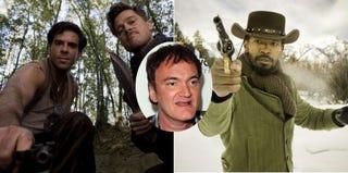 Scene from Inglourious Basterds (Weinstein Co.); Quentin Tarantino (Getty); Jamie Foxx in Django Unchained (Weinstein Co.)