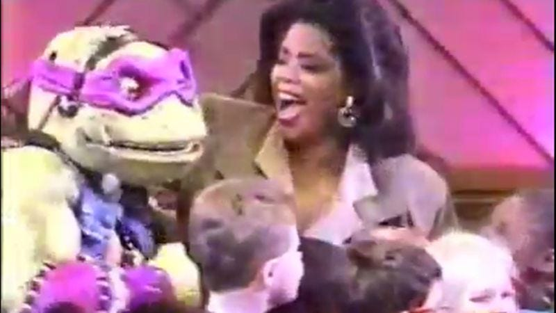 Illustration for article titled In the '90s, the Teenage Mutant Ninja Turtles sat down with Oprah