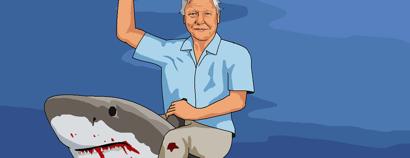 Illustration for article titled And Now, David Attenborugh Astride a Hungry, Hurdling, Bipedal Shark
