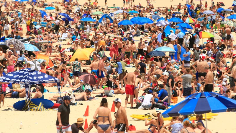 Beachgoers flocked to Sydney's Bondi Beach on Christmas to beat the heat.