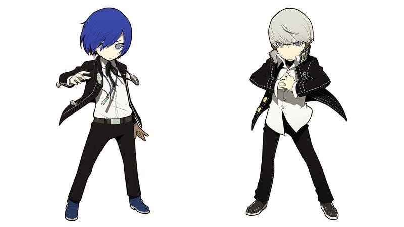 The heroes of Persona 3 (left) and Persona 4, updated for Persona Q: Shadow Of The Labyrinth