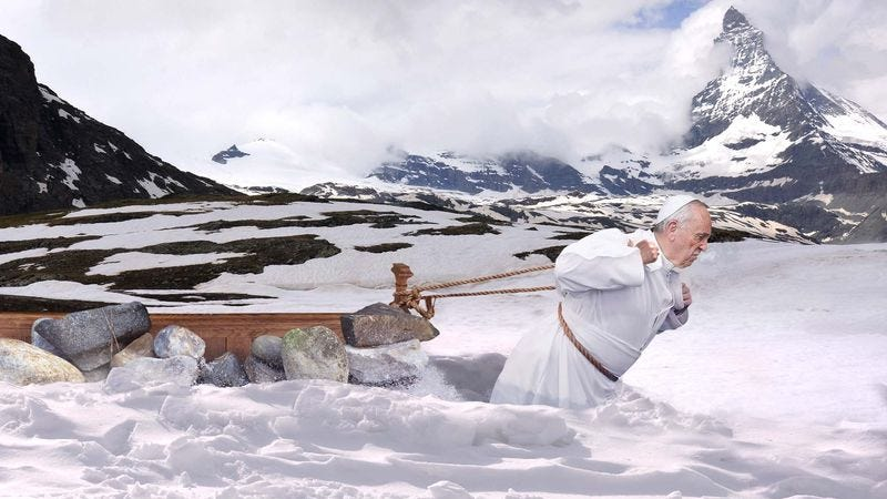 Illustration for article titled Pope Francis Trains For Easter Mass By Dragging Pew Loaded With Rocks Across Snow