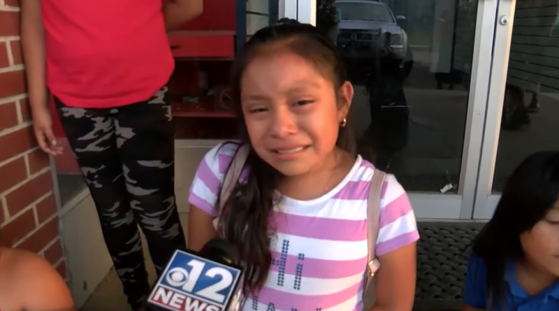 11-year-old Magdalena Gomez Gregorio speaks to reporters after learning that her father has been detained by ICE agents.
