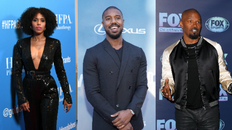 Kerry Washington (left) on July 31, 2019 in Beverly Hills, Ca.; Michael B. Jordan on August 06, 2019 in Los Angeles, Ca.; Jaime Foxx on May 13, 2019 in New York City.