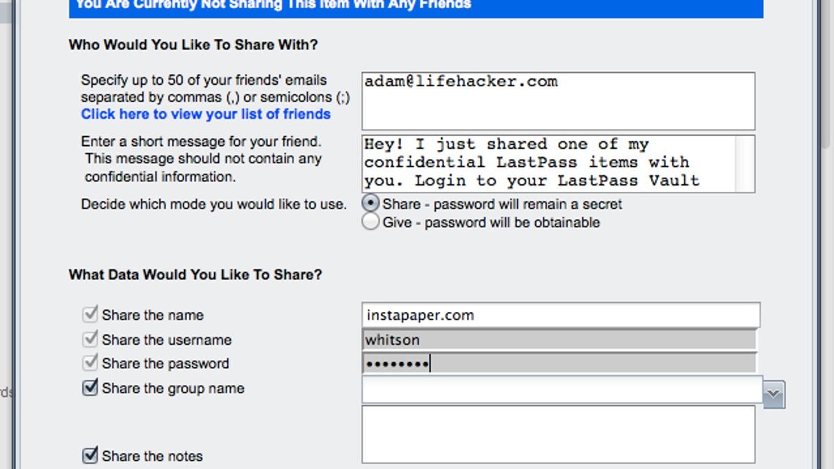 How to Securely Share a Password with Someone Using LastPass