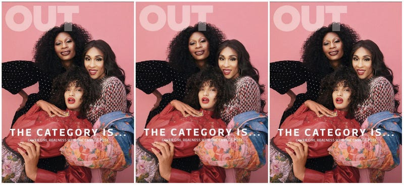(Clockwise from top left) Dominique Jackson, Mj Rodriguez and Indya Moore cover Out Magazine's August issue.
