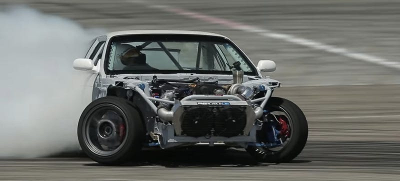 Screenshot of Kevin Lawrence testing his RB25-swapped Nissan S14 for Formula Drift Pro2 this year.