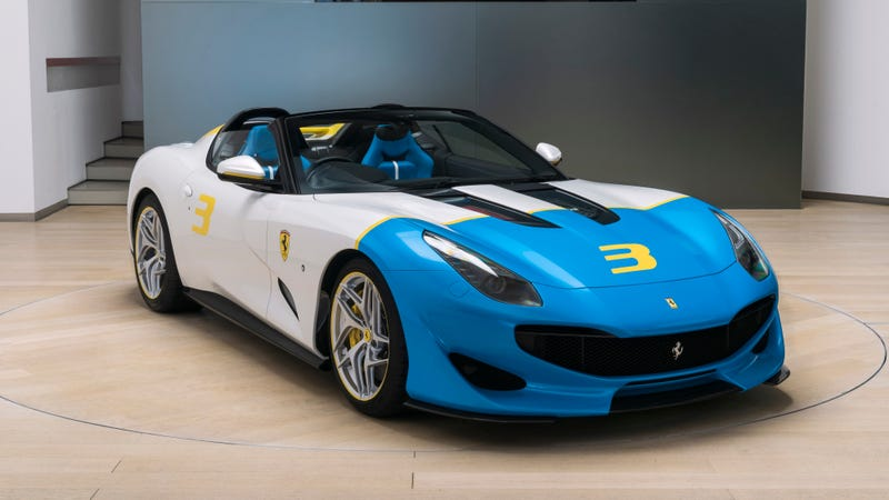 Illustration for article titled The Ferrari SP3JC One-Off Has an Adorable Big, Blue Face