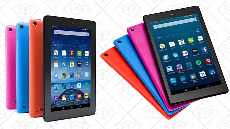 Fire Tablet, $33 | Fire Essentials Bundle, $51 | Fire HD 8, $60 | Fire HD 8 Essentials Bundle, $83