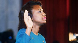 Anita Hill takes the oath Oct. 12, 1991, before the Senate Judiciary Committee in Washington, D.C.JENNIFER LAW/AFP/Getty Images