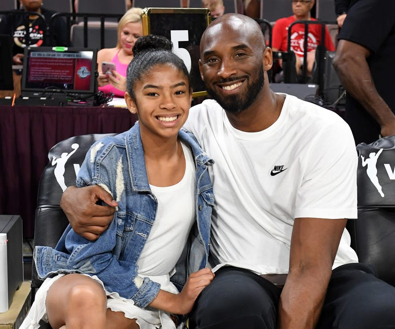 Gianna Bryant and her father, former NBA player Kobe Bryant, attend the WNBA All-Star Game 2019 at the Mandalay Bay Events Center on July 27, 2019, in Las Vegas.