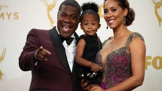 Tracy Morgan, Maven Sonae Morgan and Megan Wollover pose in the press room at the prime-time Emmy Awards on Sept. 20, 2015, in Los Angeles.Mark Davis/Getty Images