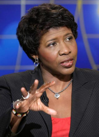 Gwen Ifill speaks during a taping of 'Meet the Press' at the NBC studios May 25, 2008, in Washington, D.C. Ifill discussed topics related to the presidential election in November 2008. Alex Wong/Getty Images for Meet the Press