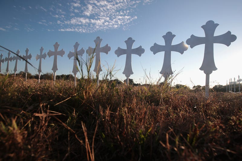 Twenty-six crosses stand in a field on the edge of town to honor the 26 victims killed at the First Baptist Church of Sutherland Springs on Nov. 6, 2017, in Texas. (Scott Olson/Getty Images)