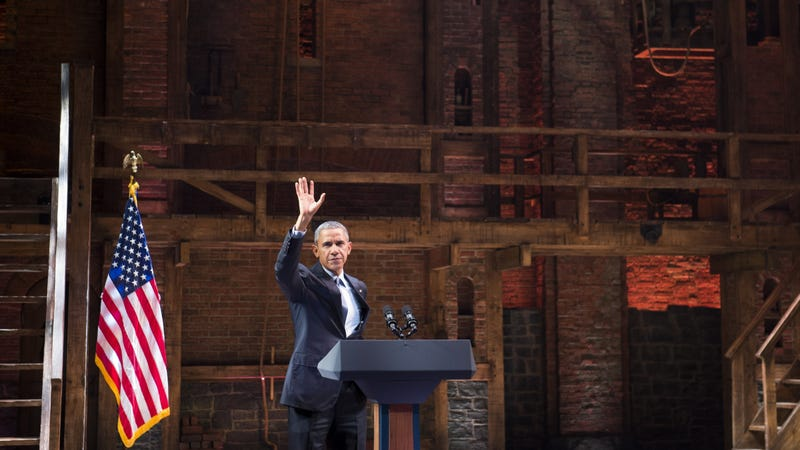 Barack Obama on the set of Hamilton in, *sigh*, 2015.