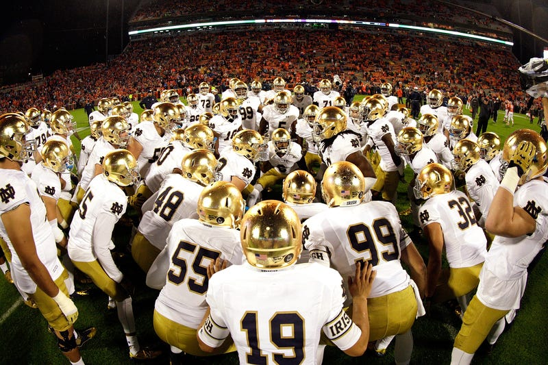 Members of the Notre Dame Fighting Irish gather prior to the game against the Clemson Tigers at Clemson Memorial Stadium on Oct. 3, 2015, in Clemson, S.C.Tyler Smith/Getty Images