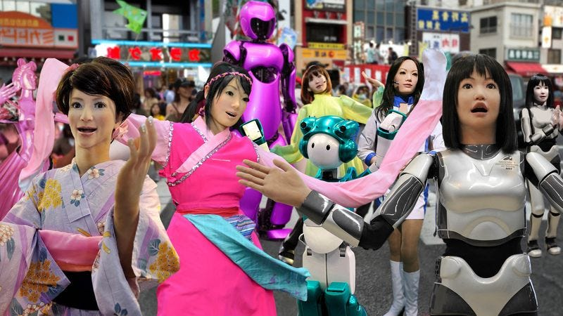 Suffragette androids celebrate the announcement of their right to vote in Tokyo's Shibuya ward.