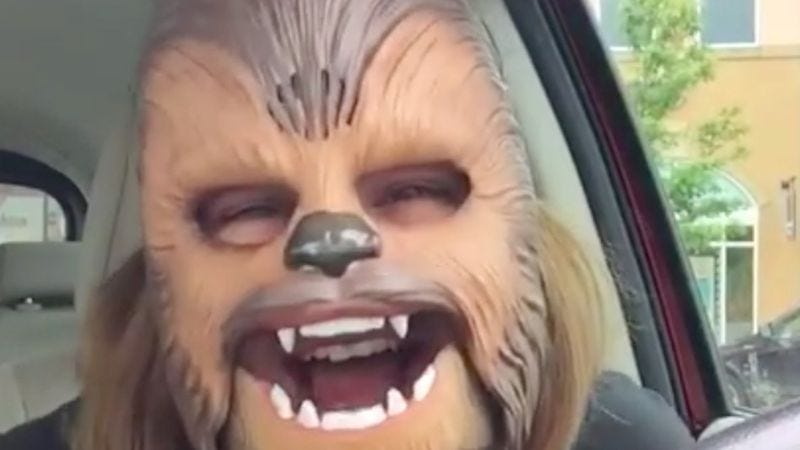 Illustration for article titled Texas woman dons Chewbacca mask in a Kohl's parking lot, experiences pure joy