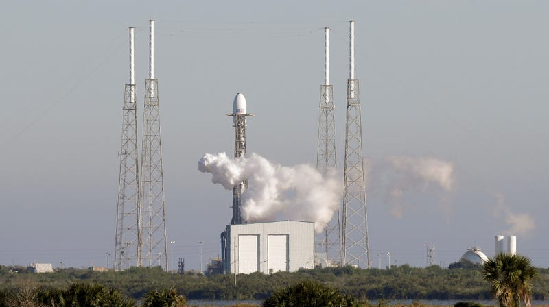 A SpaceX Falcon 9 rocket prepares to launch a GPS satellite into orbit.