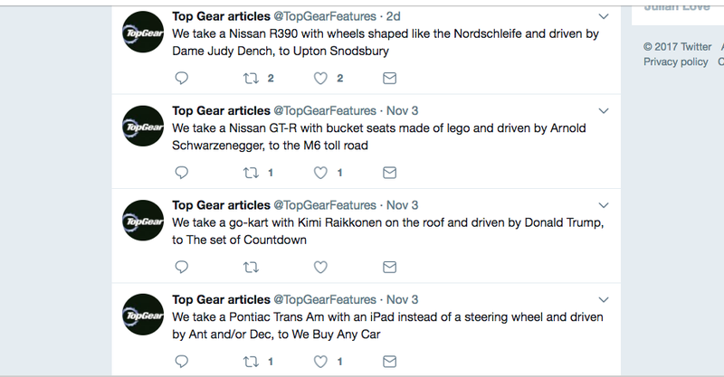 Illustration for article titled The Top Gear Feature Generator Is The Best Twitter Bot