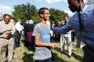 Ahmed Mohamed is greeted by a supporter during a news conference Sept. 16, 2015, in Irving, Texas.Ben Torres/Getty Images