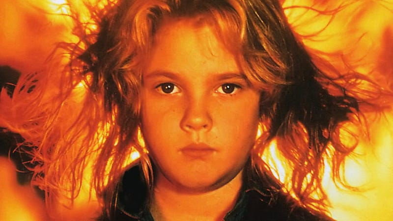 Drew Barrymore, striking an iconic pose in the 1984 version of Firestarter.