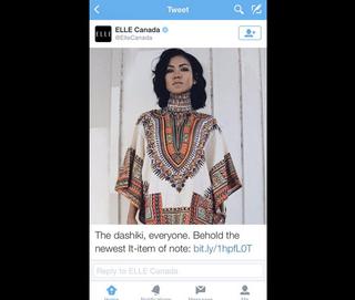 A tweet from Elle CanadaTwitter sceenshot