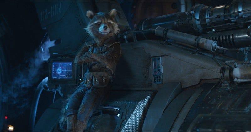 Guardians of the Galaxy team member Rocket Raccoon, as seen in Avengers: Infinity War.