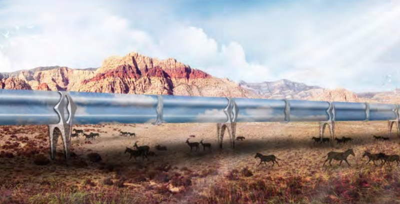 One vision of the Hyperloop traversing the desert, by Suprastudio/UCLA