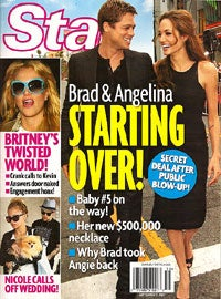 Illustration for article titled Angelina & Brad Are Still Going Strong; Larry Birkhead May Be Lying