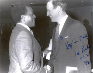 Biden and Joe Brumskill, a former Wilmington school board president.