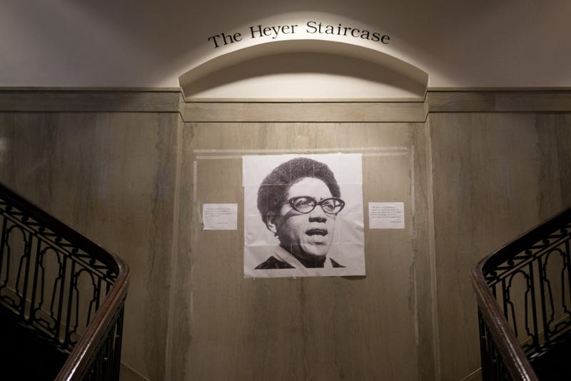 Audre Lorde's photograph hangs over the main staircase in Fisher-Bennett Hall, home of the University of Pennsylvania's English department.The Daily Pennsylvanian screenshot