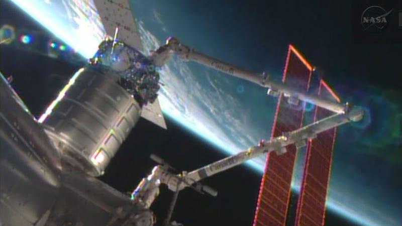 "Illustration for article titled El ""mensajero espacial"" Cygnus se acopla con éxito a la ISS"