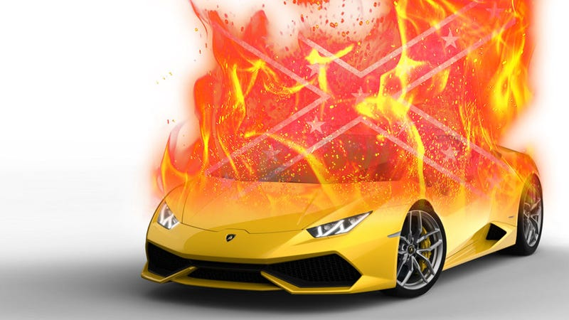 Illustration for article titled Contractor Hired To Remove Louisiana Confederate Monuments Finds His Lambo Burned To The Ground