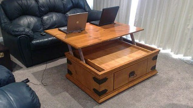 Hack your coffee table to have a lift up top for Lift top coffee table building plans