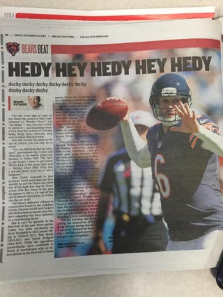 "Illustration for article titled Sun-Times' Bears Headline: ""Hedy Hey Hedy Hey Hedy"""
