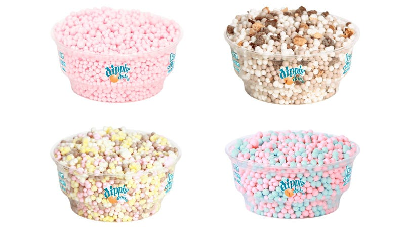 "Illustration for article titled Dippin' Dots cereal isn't actually ice cream, just tiny round flavor ""clusters"""