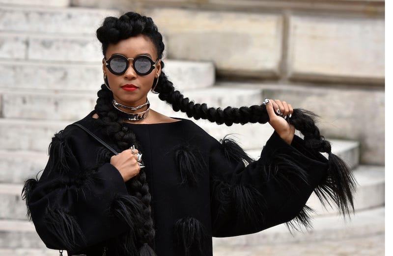 Illustration for article titled Janelle Monáe Giddyups Her Braids at Paris Fashion Week