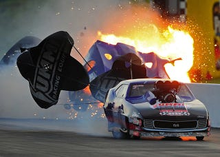 Illustration for article titled Here Are A Bunch Of Photos Of A Fiery NHRA Crash